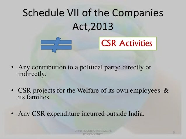 Schedule VII of the Companies  Act,2013  CSR Activities  • Any contribution to a political party; directly or  indirectly....