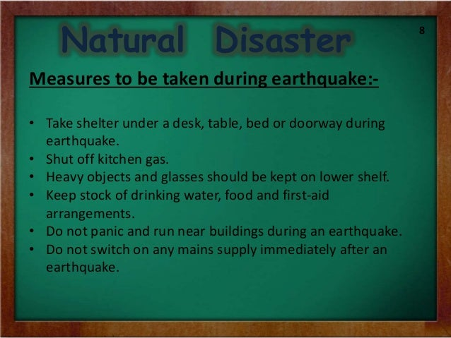 Natural Disasters Earthquakes Precautions