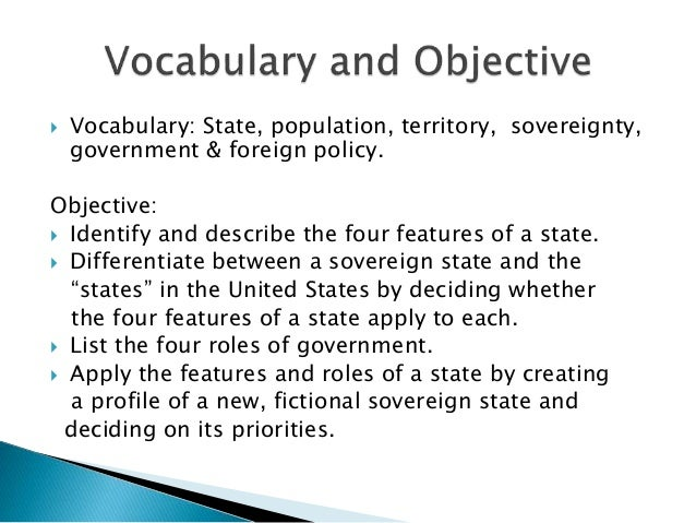 features of government deals with territory population and sovereignty
