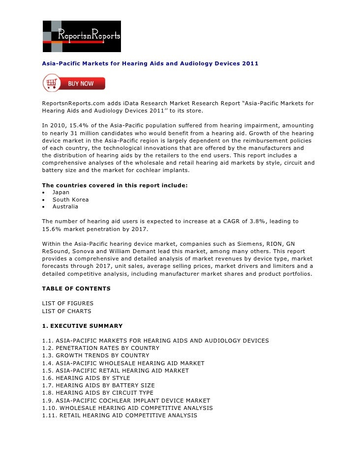 Asia-Pacific Markets for Hearing Aids and Audiology Devices 2011ReportsnReports.com adds iData Research Market Research Re...