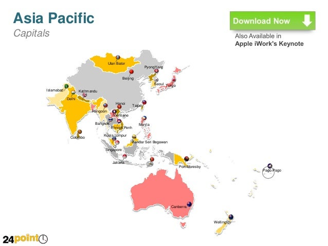 asia pacific country maps powerpoint slides