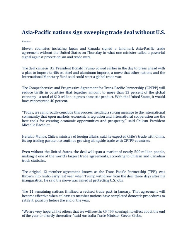 Asia Pacific Nations Sign Sweeping Trade Deal Without Us Reuters