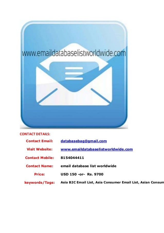 Asia b2 c email list, asia consumer email list, asian