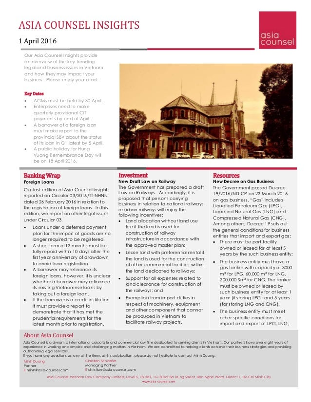 ASIA COUNSEL INSIGHTS 1 April 2016 Our Asia Counsel Insights provide an overview of the key trending legal and business is...