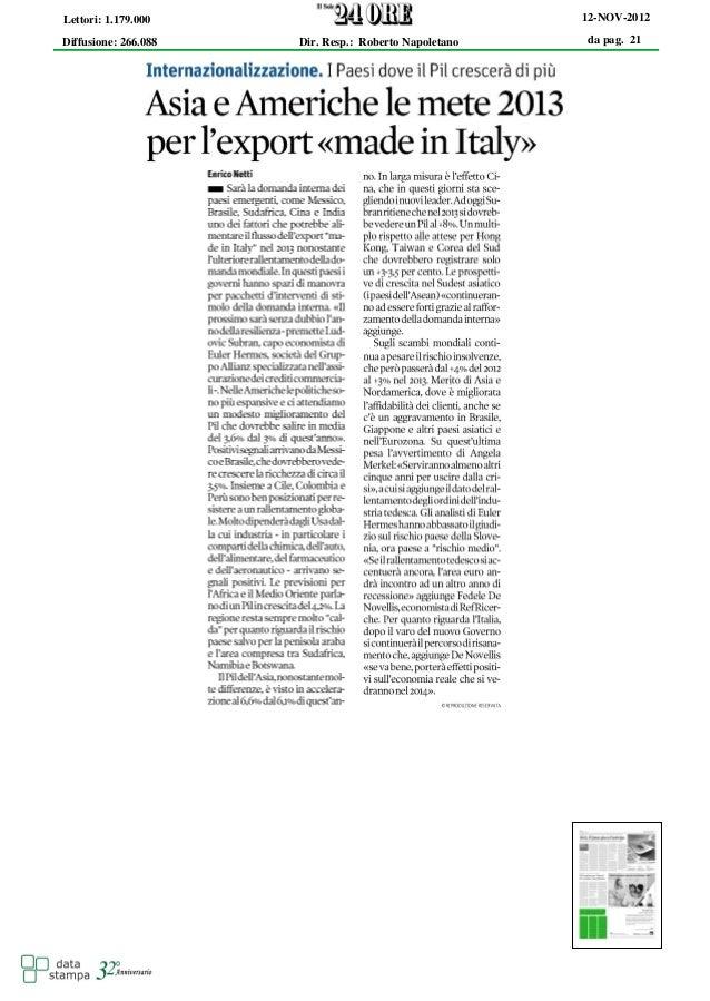 Lettori: 1.179.000                                     12-NOV-2012Diffusione: 266.088   Dir. Resp.: Roberto Napoletano   d...
