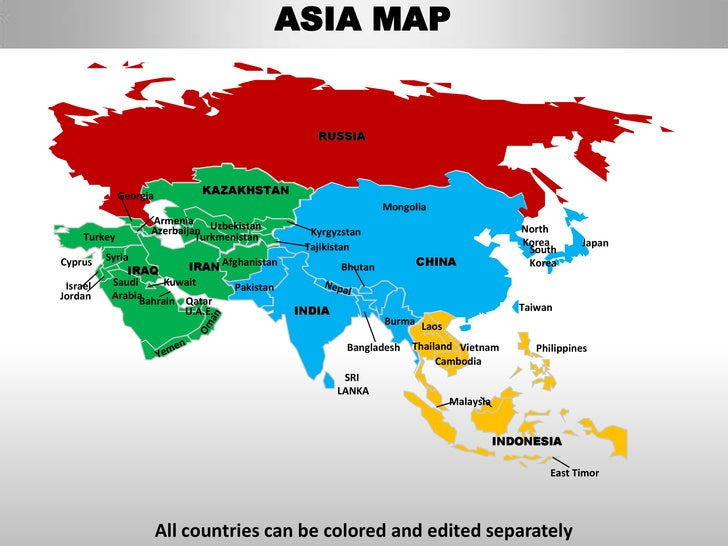 Asia editable continent map with countries