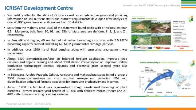Presentation at the 98th ICRISAT Governing Board Meeting Program Committee 20 April 2021 ICRISAT Development Centre • Soil...