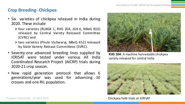 Presentation at the 98th ICRISAT Governing Board Meeting Program Committee 20 April 2021 Crop Breeding- Chickpea • Six var...