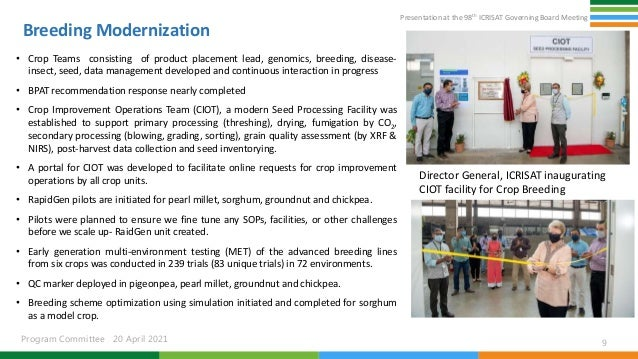 Presentation at the 98th ICRISAT Governing Board Meeting Program Committee 20 April 2021 Breeding Modernization • Crop Tea...