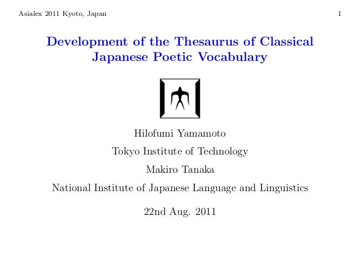 Asialex 2011 Kyoto, Japan                                          1       Development of the Thesaurus of Classical      ...