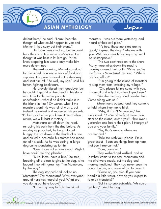 Asian mythologyworkbook – Mythology Worksheets