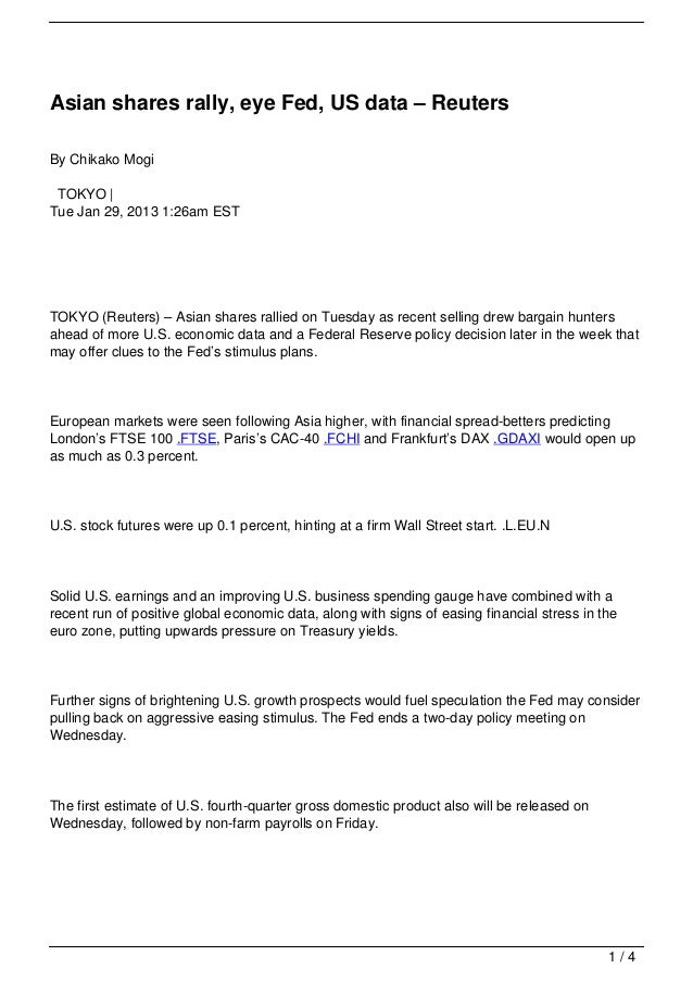 Asian shares rally, eye Fed, US data – ReutersBy Chikako Mogi TOKYO |Tue Jan 29, 2013 1:26am ESTTOKYO (Reuters) – Asian sh...