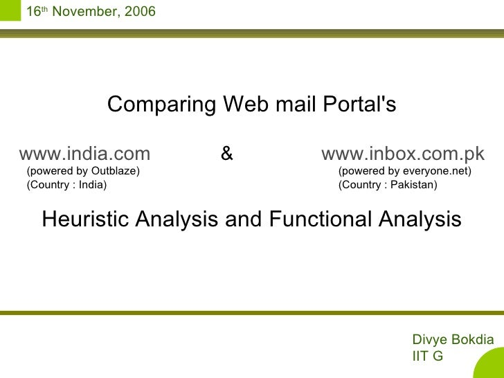 Comparing Web mail Portal's www.india.com & www.inbox.com.pk (powered by Outblaze)      (powered by everyone.net) (Country...