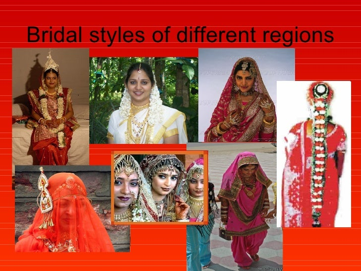 Bridal styles of different regions