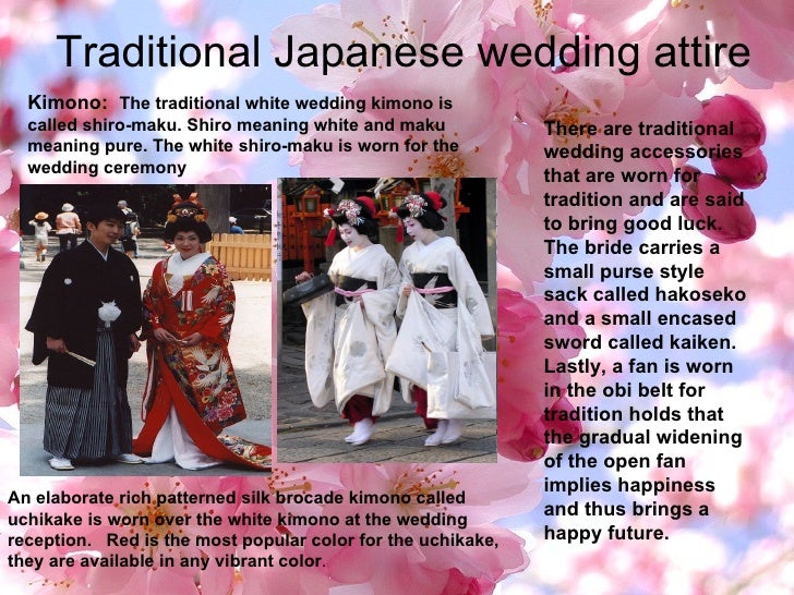 Traditional Japanese wedding attire There are traditional wedding accessories that are worn for tradition and are said to ...
