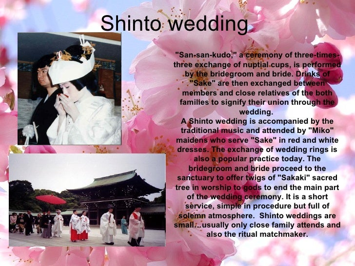 """Shinto wedding """"San-san-kudo,"""" a ceremony of three-times-three exchange of nuptial cups, is performed by the bri..."""