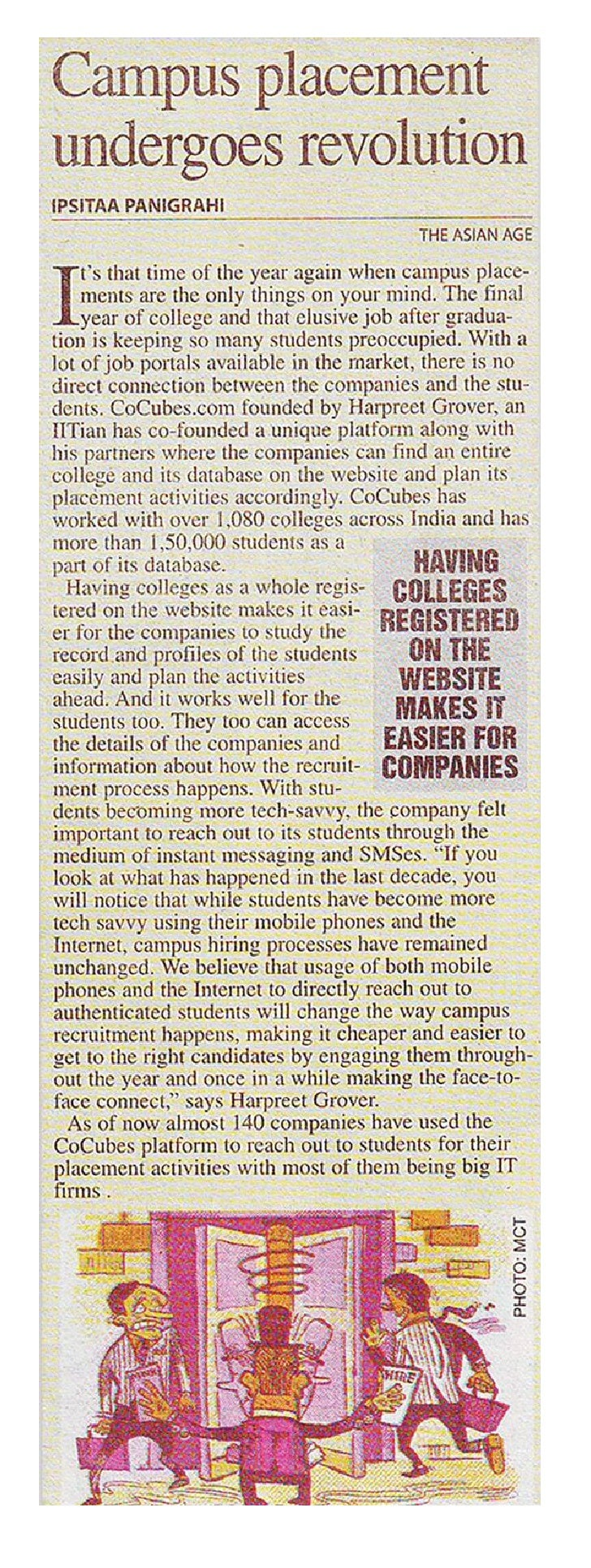 CoCubes featured on Asian Age