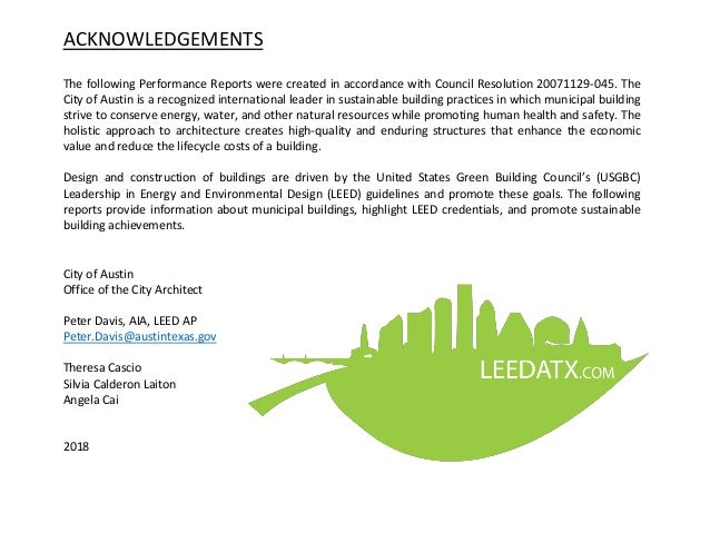 ACKNOWLEDGEMENTS The following Performance Reports were created in accordance with Council Resolution 20071129-045. The Ci...
