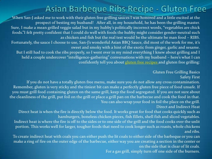 Asian Barbeque Ribs Recipe - Gluten Free<br />When San-J asked me to work with their gluten free grilling sauces I was hon...