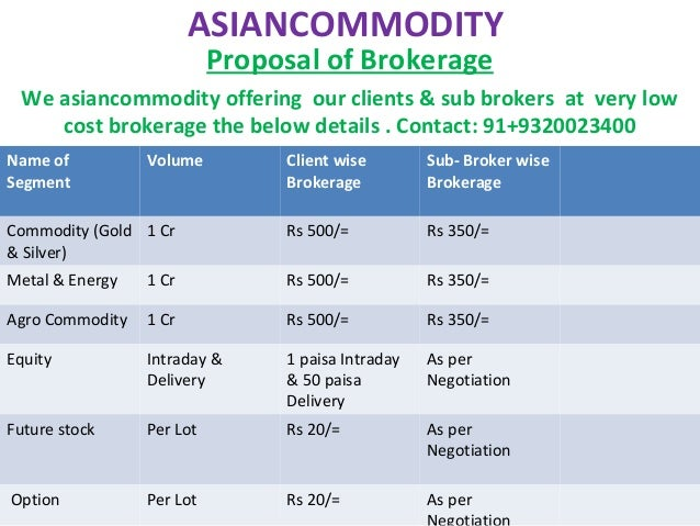ASIANCOMMODITYProposal of BrokerageWe asiancommodity offering our clients & sub brokers at very lowcost brokerage the belo...