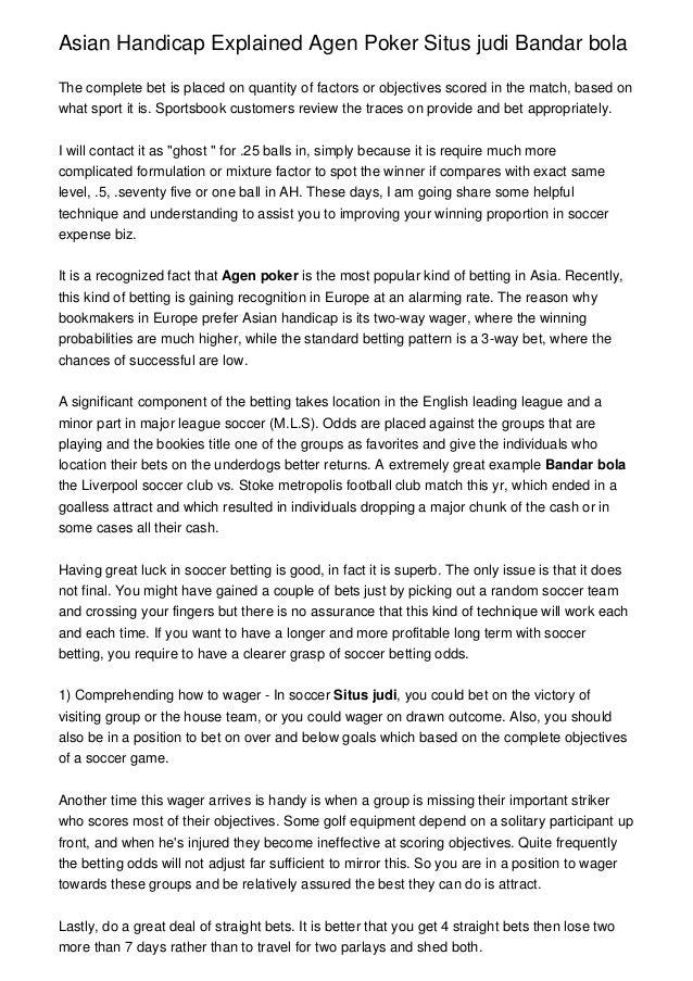 Asian Handicap Explained Agen Poker Situs Judi Bandar Bola