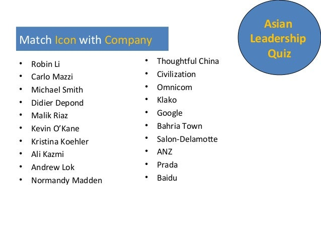 Match Icon with Company • Robin Li • Carlo Mazzi • Michael Smith • Didier Depond • Malik Riaz • Kevin O'Kane • Kristina Ko...