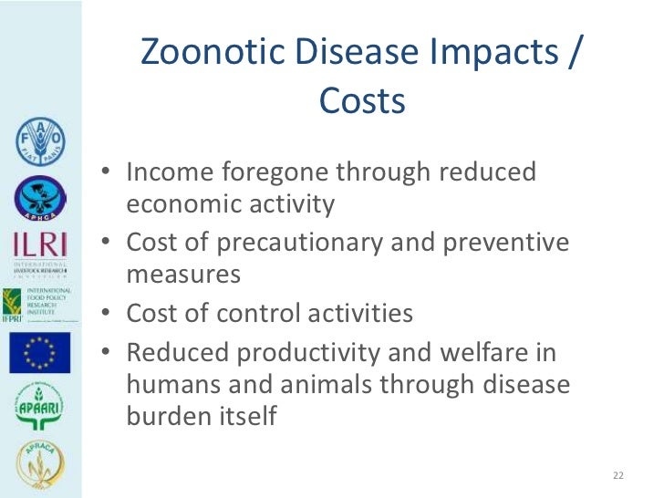 Zoonotic Disease Impacts /             Costs• Income foregone through reduced  economic activity• Cost of precautionary an...
