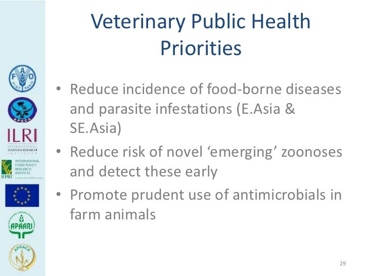 Veterinary Public Health            Priorities• Reduce incidence of food-borne diseases  and parasite infestations (E.Asia...
