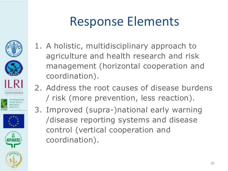 Response Elements1. A holistic, multidisciplinary approach to   agriculture and health research and risk   management (hor...