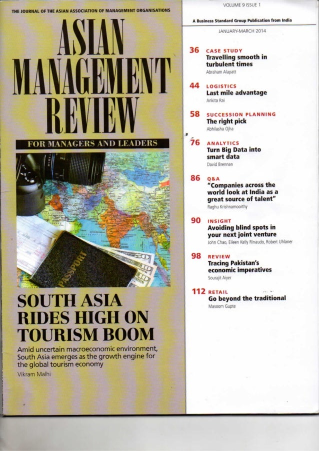 Sourajit Aiyer - Asian Management Review - Tracing Pakistan's economic imperatives - India, Mar 2014
