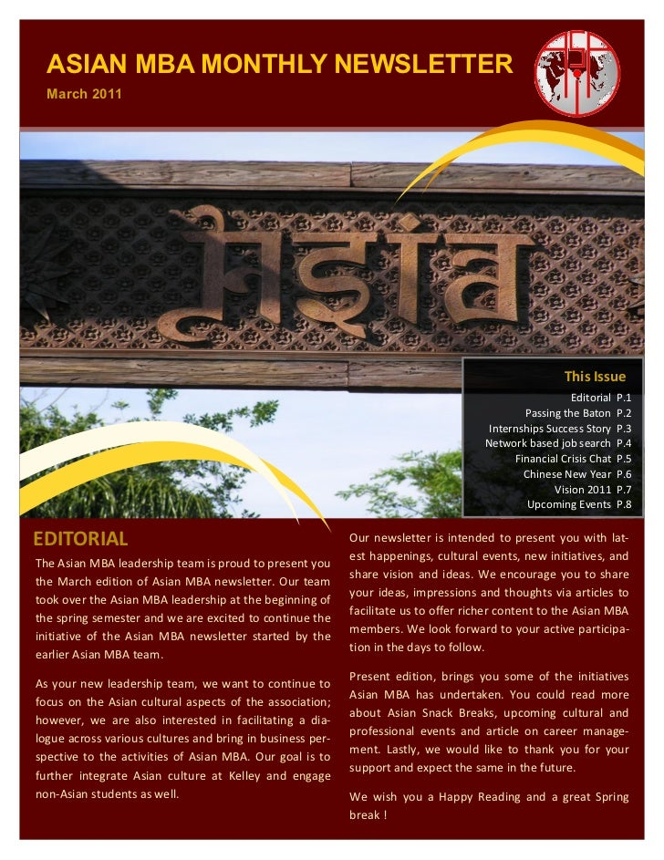 ASIAN MBA MONTHLY NEWSLETTER  March 2011                                                                                  ...