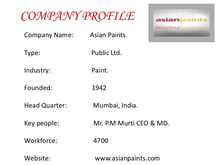 Introduction of asian paints