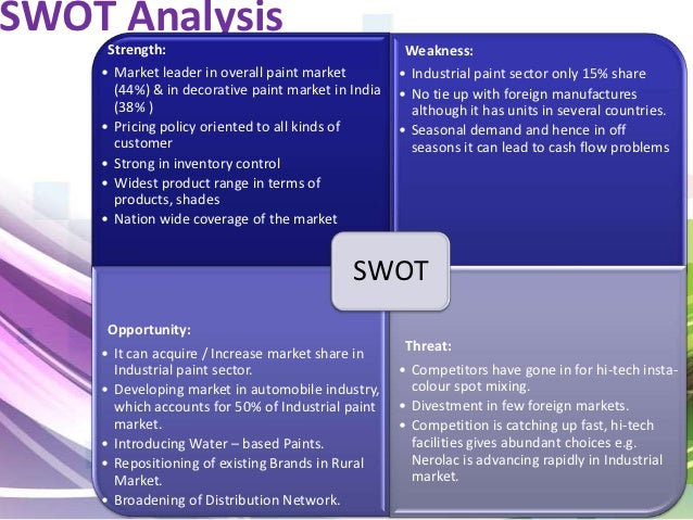 swot analysis of asian paints Swot analysis of asian paints - asiant paints swot analysis here is the swot analysis of asian paints which was founded in 1942 in the business of manufacturing.