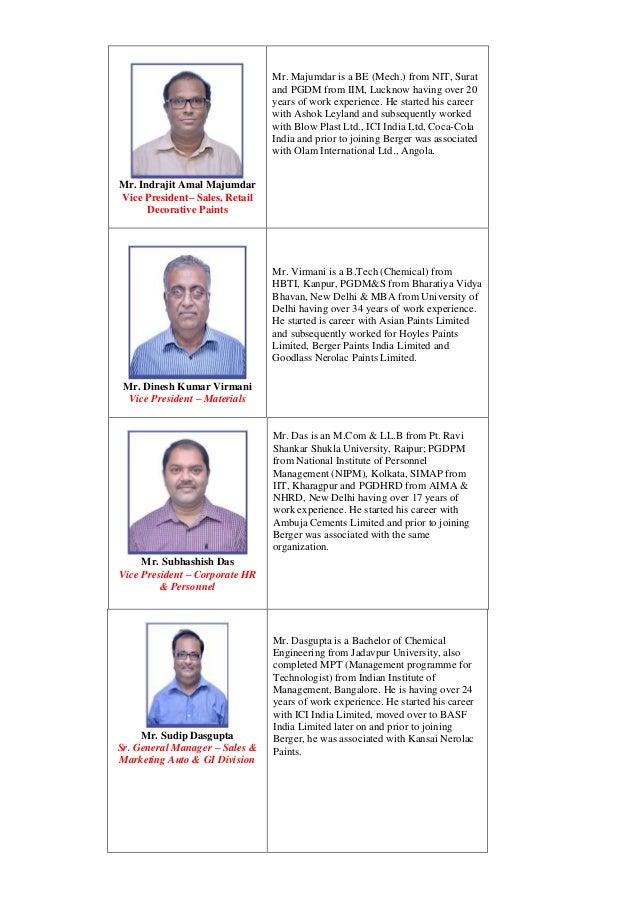 Mr. Indrajit Amal Majumdar Vice President– Sales, Retail Decorative Paints Mr. Majumdar is a BE (Mech.) from NIT, Surat an...