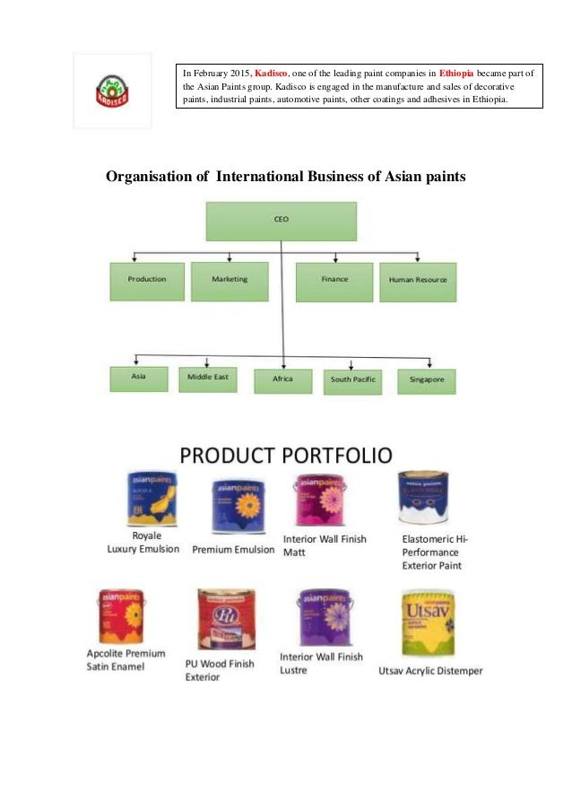 Organisation of International Business of Asian paints In February 2015, Kadisco, one of the leading paint companies in Et...