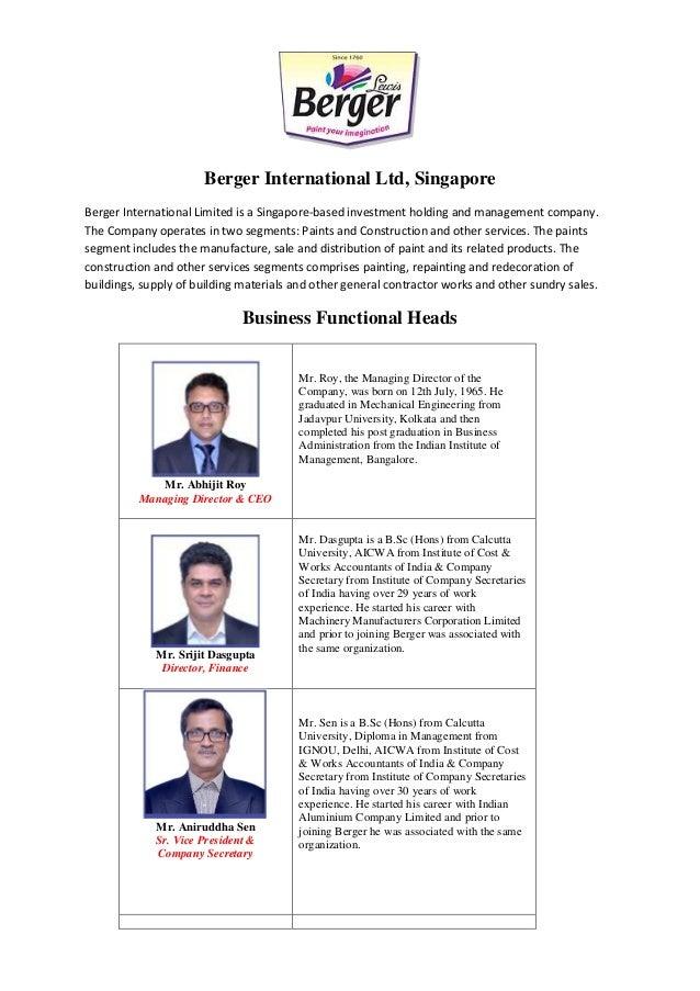 Berger International Ltd, Singapore Berger International Limited is a Singapore-based investment holding and management co...
