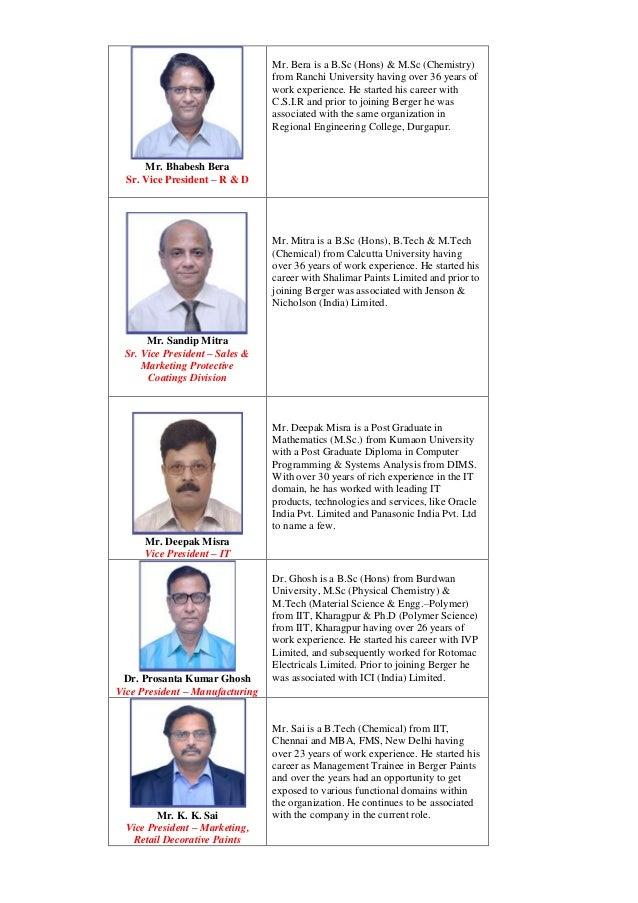 Mr. Bhabesh Bera Sr. Vice President – R & D Mr. Bera is a B.Sc (Hons) & M.Sc (Chemistry) from Ranchi University having ove...
