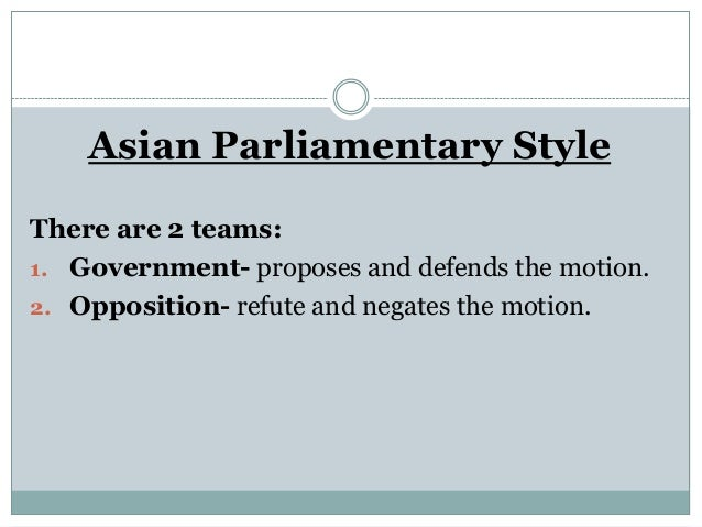 Asian parliamentary procedure