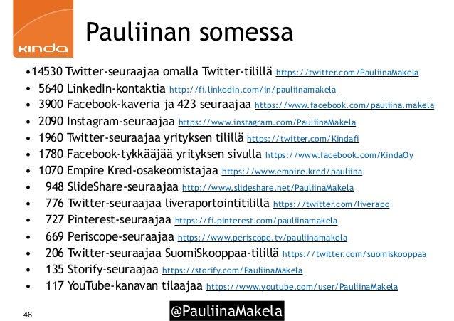 @PauliinaMakela46 Pauliinan somessa •14530 Twitter-seuraajaa omalla Twitter-tilillä https://twitter.com/PauliinaMakela • 5...