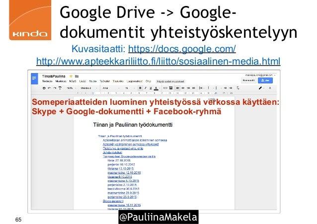 @PauliinaMakela65 Google Drive -> Google- dokumentit yhteistyöskentelyyn Kuvasitaatti: https://docs.google.com/ Someperiaa...