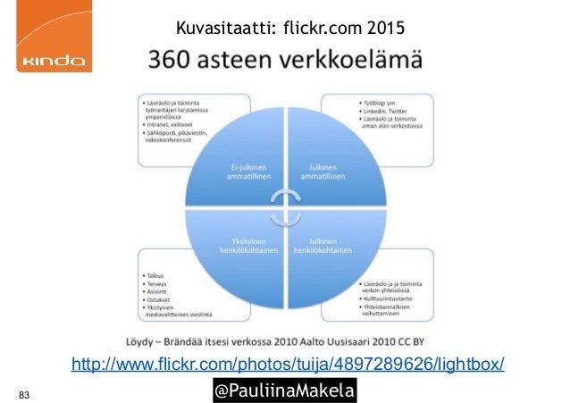 @PauliinaMakela 360 asteen verkkoelämä 83 http://www.flickr.com/photos/tuija/4897289626/lightbox/ Kuvasitaatti: flickr.com...