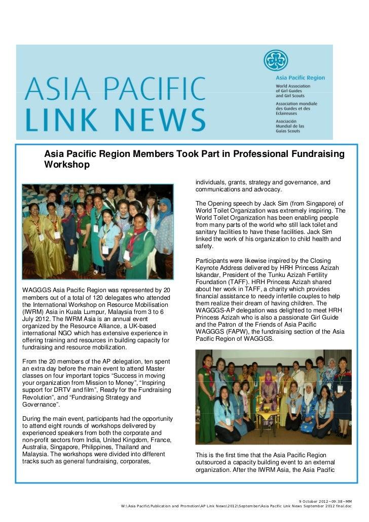 Asia Pacific Region Members Took Part in Professional Fundraising        Workshop                                         ...