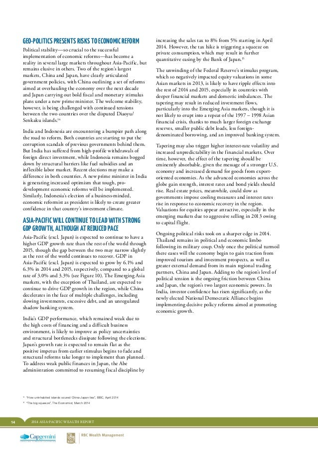 14 2014 ASIA-PACIFIC WEALTH REPORT increasing the sales tax to 8% from 5% starting in April 2014. However, the tax hike is...
