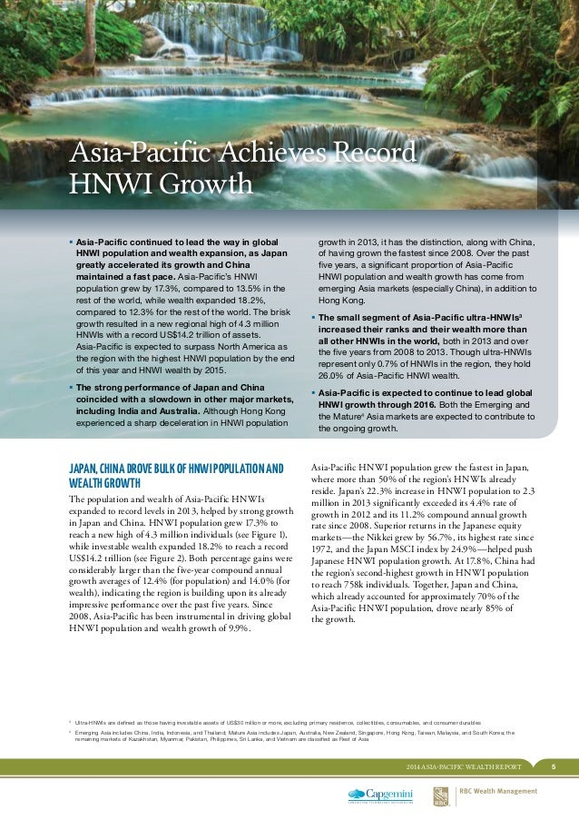 52014 ASIA-PACIFIC WEALTH REPORT EXECUTIVE SUMMARY Asia-Pacific Achieves Record HNWI Growth ƒƒ Asia-Pacific continued to l...