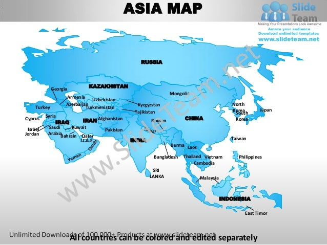Asia powerpoint editable continent map with countries templates slides – Map of Asian Continent