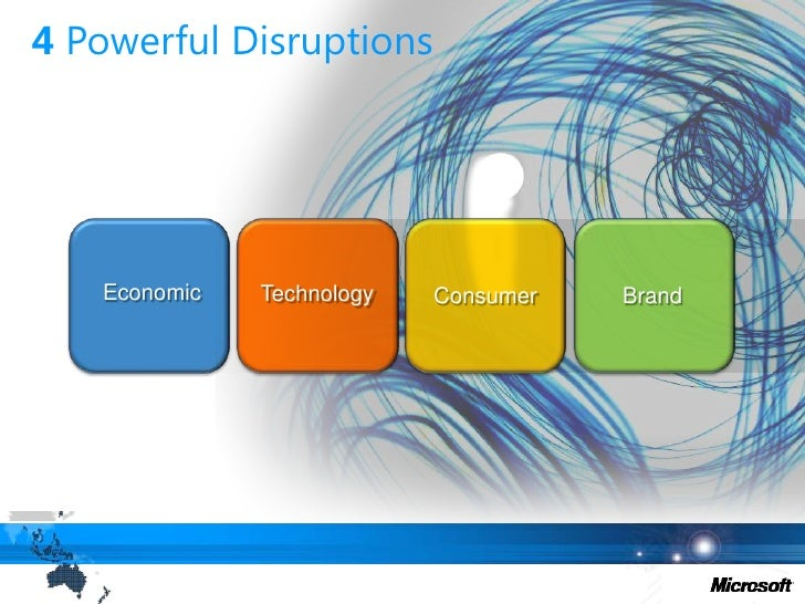 4 Powerful Disruptions<br />Economic<br />Technology<br />Consumer<br />Brand<br />