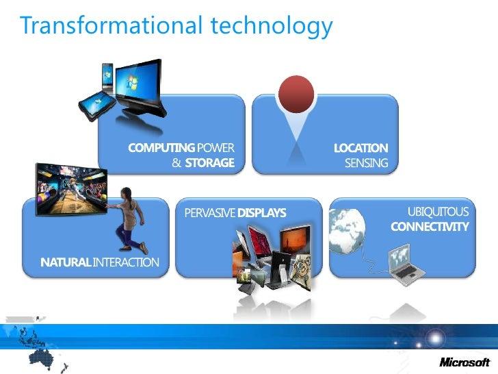 Transformational technology<br />COMPUTING POWER &  STORAGE<br />LOCATION<br />SENSING<br />PERVASIVE DISPLAYS<br />UBIQUI...