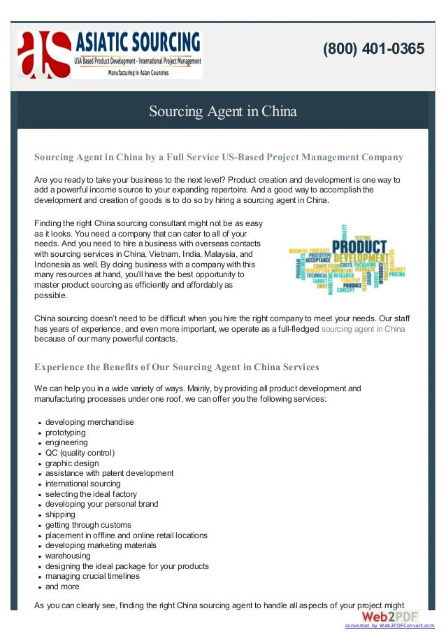 Sourcing Agent in China Sourcing Agent in China by a Full Service US-Based Project Management Company Are you ready to tak...