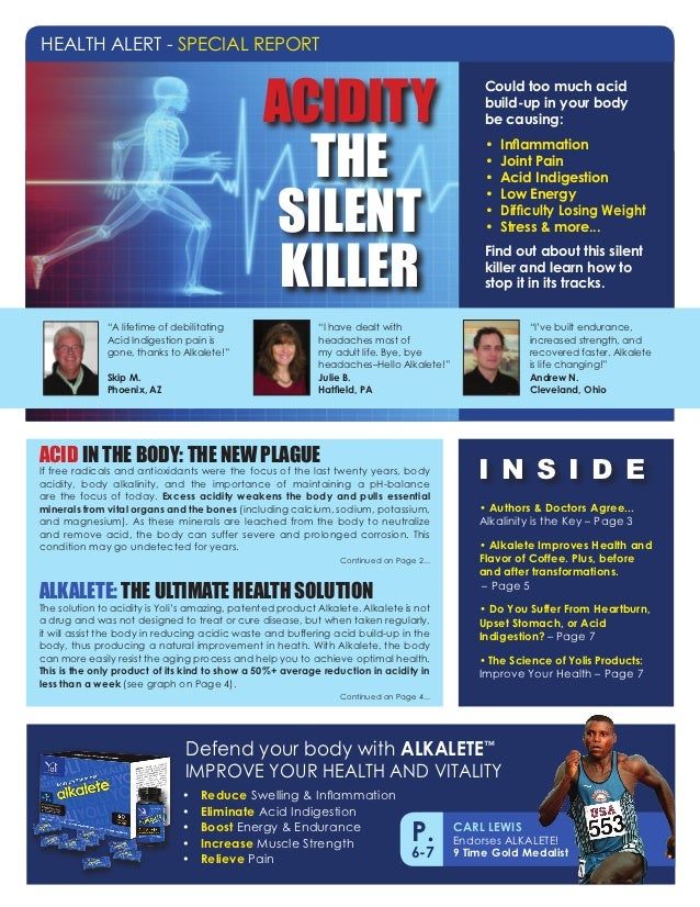 HEALTH ALERT - SPECIAL REPORT                                                ACIDITY                                      ...