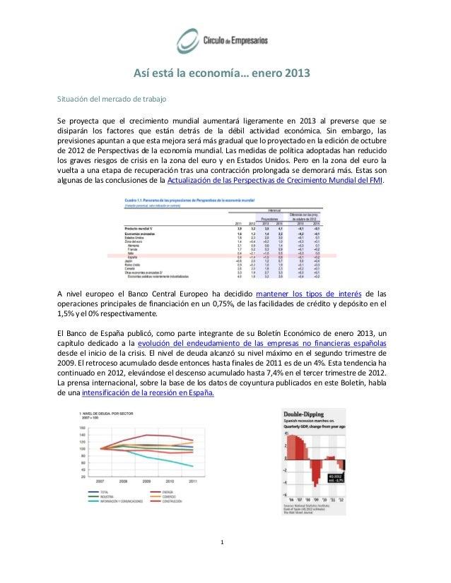 Así está la economía… enero 2013 Situación del mercado de trabajo Se proyecta que el crecimiento mundial aumentará ligeram...